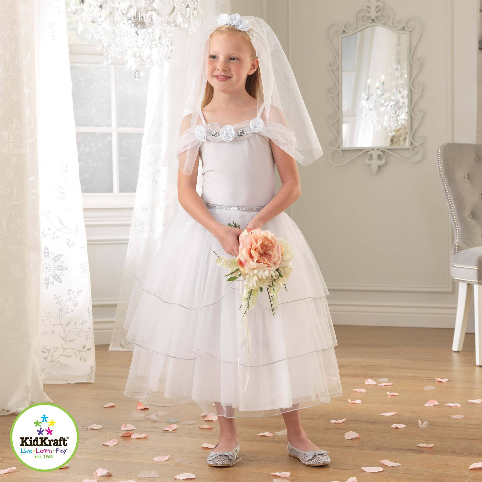 KidKraft White Rose Bride Dress Up Costume Dress Up Costume