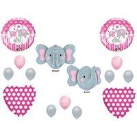 IT'S A GIRL ELEPHANT Baby Shower Balloons Decoration Supplies Zoo Pink