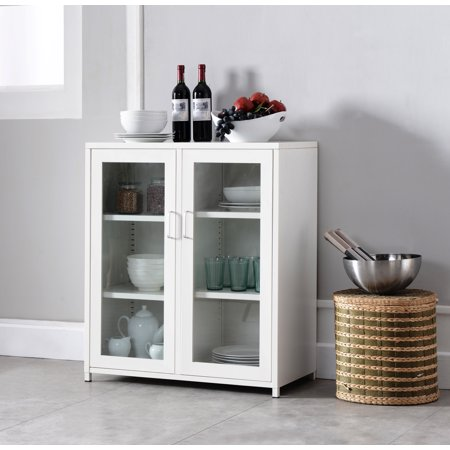 Markle White Iron Transitional Kitchen Storage Accent Cabinet Buffet With 2 Glass Doors & Shelves (Cabinets Glass)