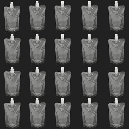- 20Pcs 250ML 8Oz Plastic Alcohol Spout Flask Bladder Bags Clear Leak Proof + Cap