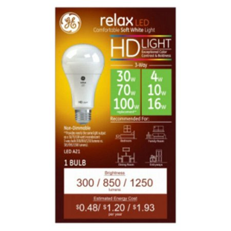 (2 pack) GE LED 4/7/13W HD Relax 3-Way Soft White General Purpose, A21 Medium Base, -