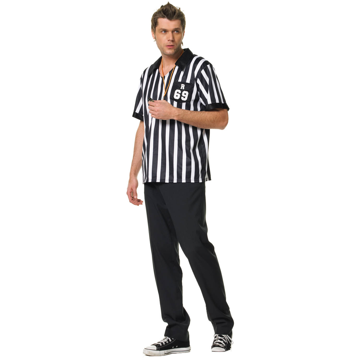 Leg Avenue Men's 2 Piece Referee Costume, Black/White, X-Large