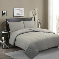 Your Zone Gray Heather Jersey Comforter Set