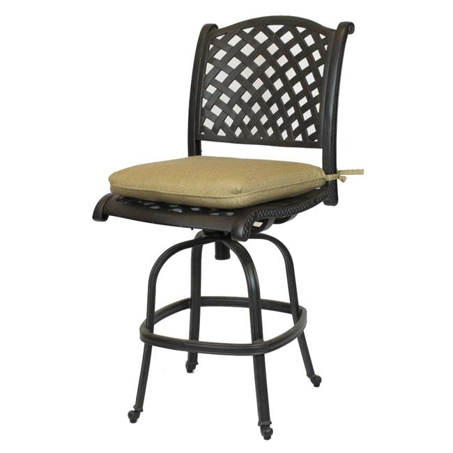 Comfort Care CC03B-SL Cast Aluminum Armless Weave Outdoor Barstool with Sunbrella Sesame Linen Cushion - 50.6 x 22.8 x 27 in. - Set of 2