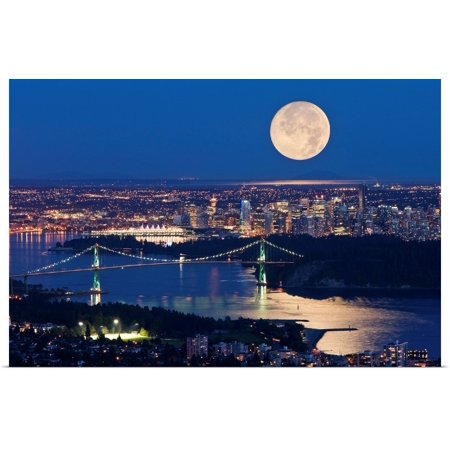 Great BIG Canvas | Rolled David Nunuk Poster Print entitled Full Moonrise Over Vancouver, British Columbia, (Babies R Us Registry Canada Full Site)