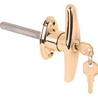 Prime-Line GD 52213 T Locking Handle with 5/16-Inch Square Shaft, Brass Plated