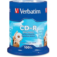 Verbatim, VER94712, Blank White CD-R Printable Disks, 100