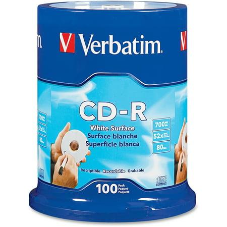 Verbatim, VER94712, Blank White CD-R Printable Disks, 100 ()