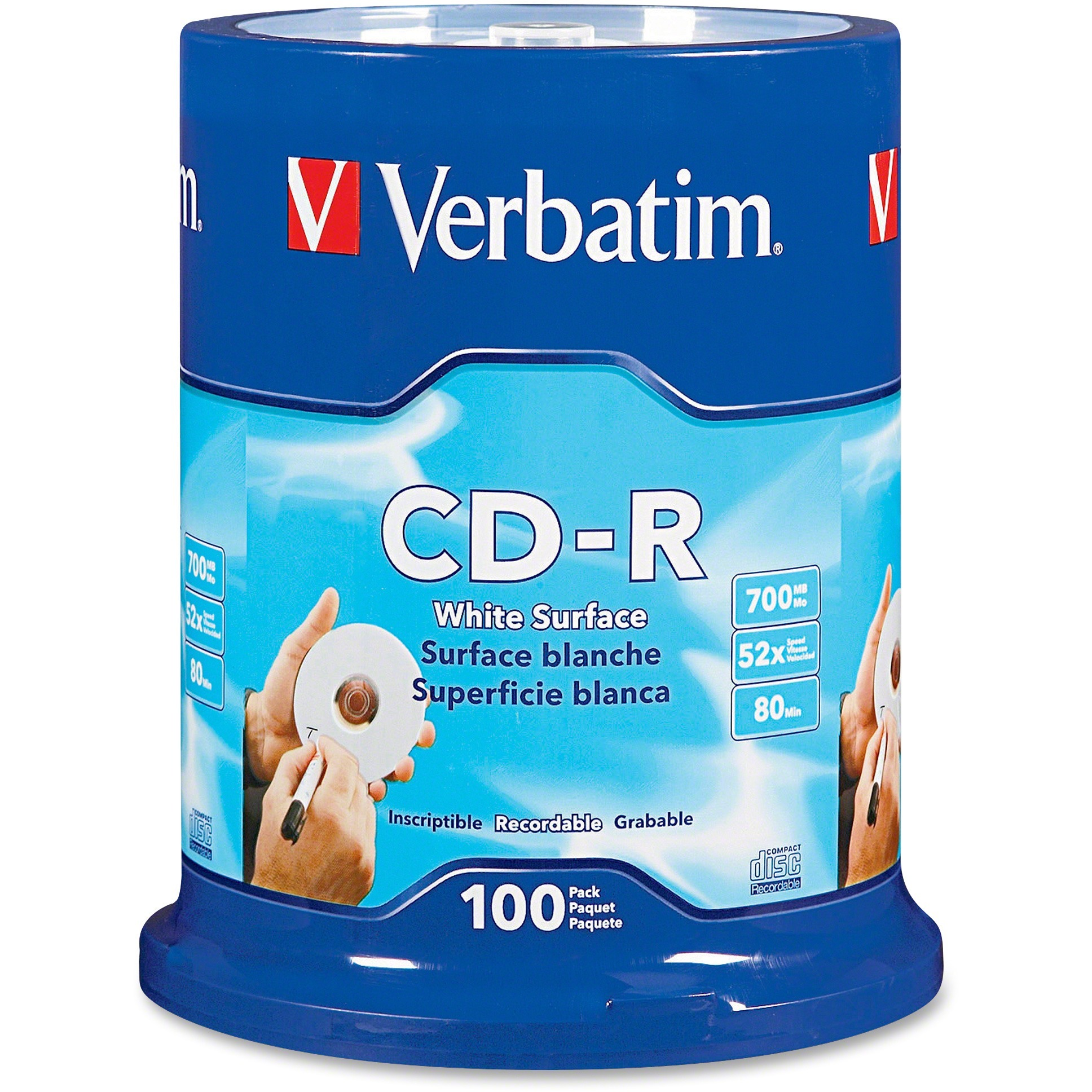 Verbatim, VER94712, Blank White CD-R Printable Disks, 100