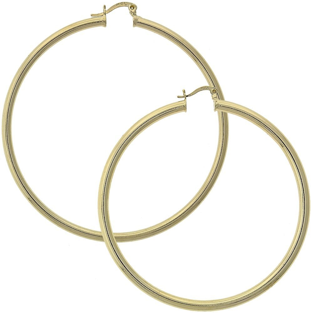 Gold-Tone Ladies Circle Polished Finish and Large Hoop Earrings (65mm x 3mm)