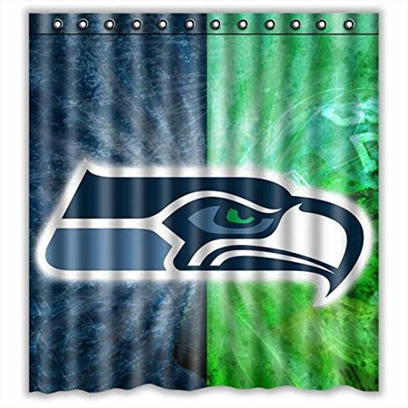 DEYOU Seattle Seahawks Shower Curtain Polyester Fabric Bathroom Size 66x72 Inches