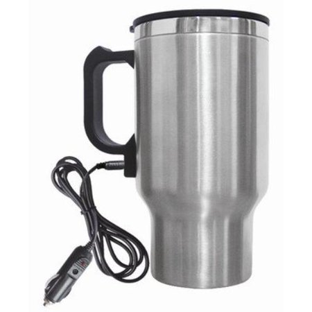 Brentwood Electric Coffee Mug With Wire Car Plug In Silver [cmb-16c] - 16 Oz - Stainless Steel - Silver (cmb16c)