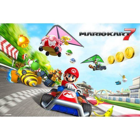 mario kart 7 nintendo 3ds wii racing track characters video game poster 18. Black Bedroom Furniture Sets. Home Design Ideas
