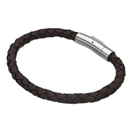 BRS02DBRN Single Braided Leather Stainless Steel Bracelet, Dark (Dark Brown Single)