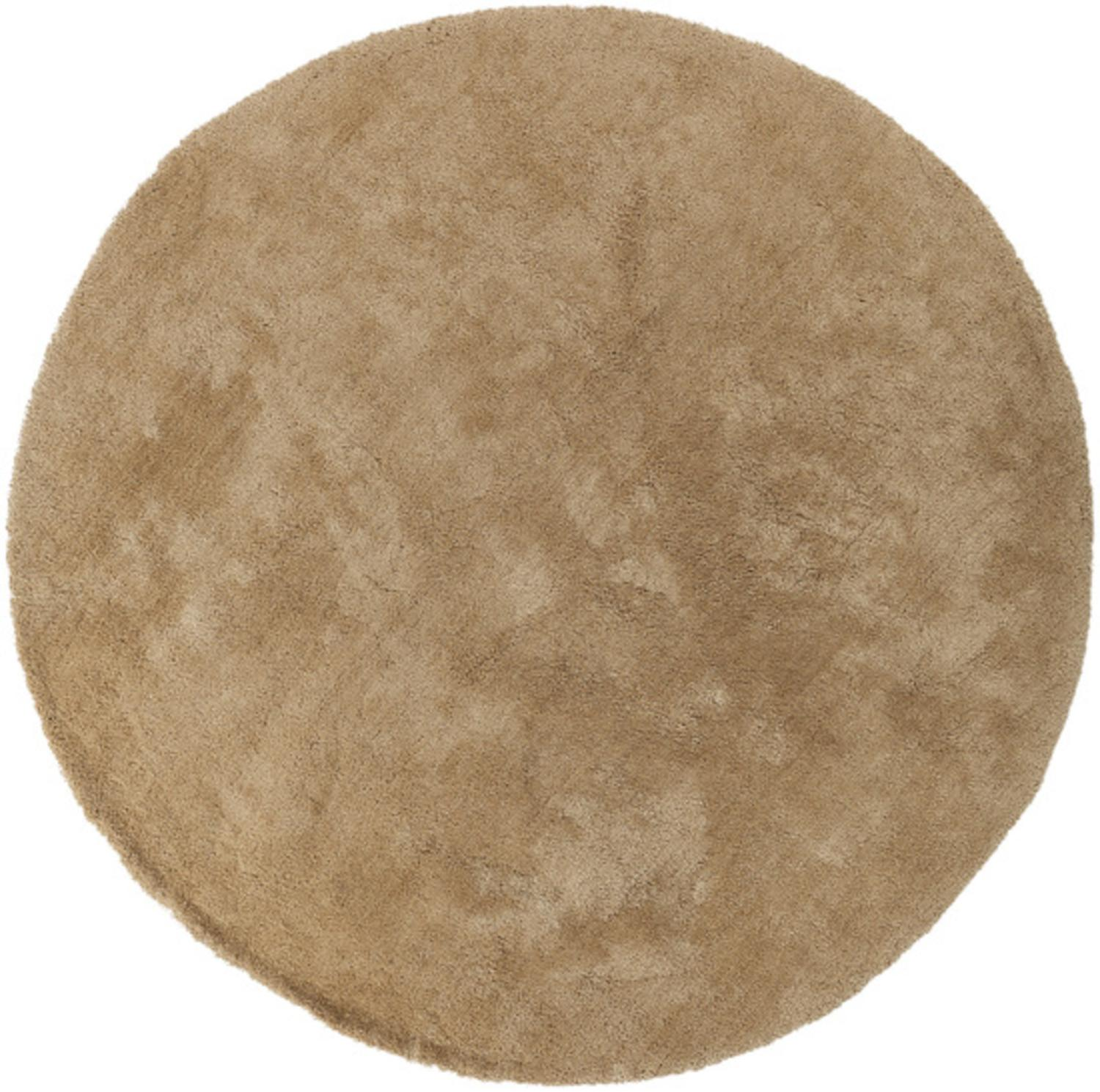 8' Calming Spectrum Marzipan Brown Hand Woven Ultra Plush Round Area Throw Rug