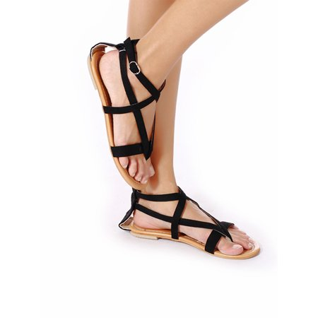 Women Retro Roman Braided Gladiator Shoes Flat Sandal Buckle Strappy Flat Shoe For (Retro Buckle)
