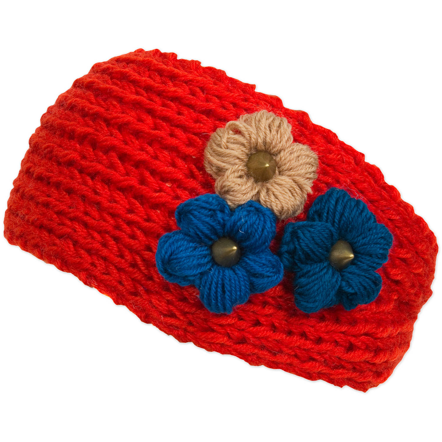 Magid Headwrap with Tri Color Flowers, Red