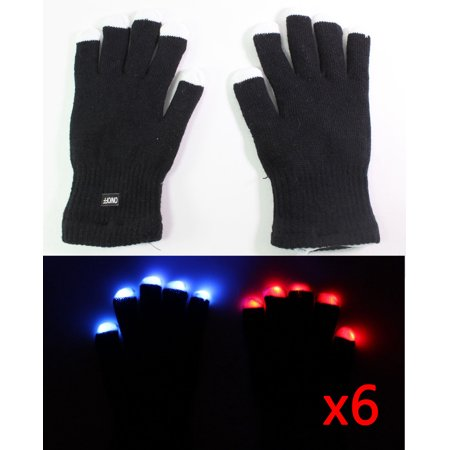 12 gloves ( 6 pairs ) of 7 Mode LED Light Up Flashing Red Blue Green Glow Rave Black White Finger Party Gift Gloves (Foods That Glow Under Black Light)