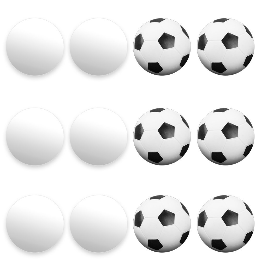 12 Pack of Mixed Foosballs – for Standard Foosball Tables & Classic Tabletop Soccer Game Balls (6 Black & White Soccer) (6 Smooth White) by, 12 FOOSBALLS, 2.., By Brybelly
