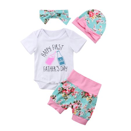 The Noble Collection Happy 1st Father's Day 4Pcs Outfits Baby Girl Romper Pants