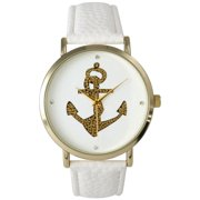 Gold Anchor Leather Watch
