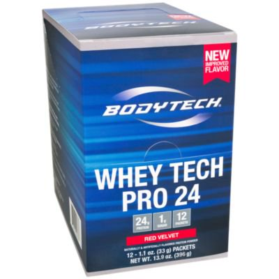 BodyTech Whey Tech Pro 24 Protein Powder  Protein Enzyme Blend with BCAA's to Fuel Muscle Growth  Recovery, Ideal for PostWorkout Muscle Building  Red Velvet (12