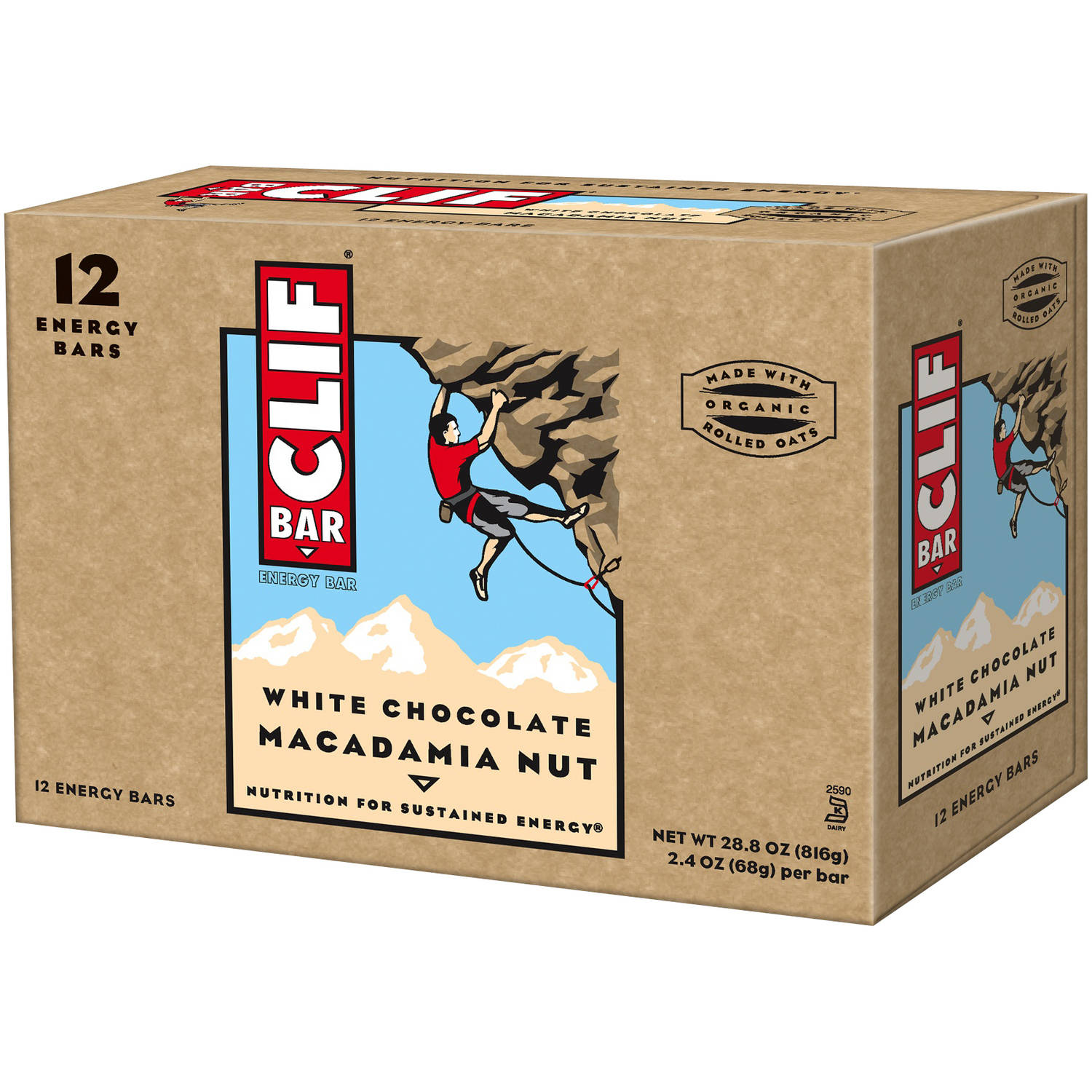 CLIF Bar White Chocolate Macadamia Nut Energy Bars, 2.4 oz, 12 count