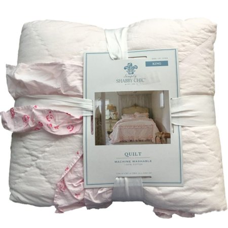 Simply Shabby Chic Pink Pintuck Ruffle King Bed Quilt