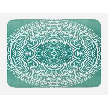 Teal Ombre Bath Mat, Mandala Pattern Boho Style Floral Dots and Stripes with Petals Ethnic Print, Non-Slip Plush Mat Bathroom Kitchen Laundry Room Decor, 29.5 X 17.5 Inches, Teal and White, Ambesonne ()