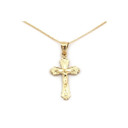 14k Crucifix Pendant - 14k Yellow Gold Crucifix Cross Pendant Necklace - 13 15 16 18 20 22