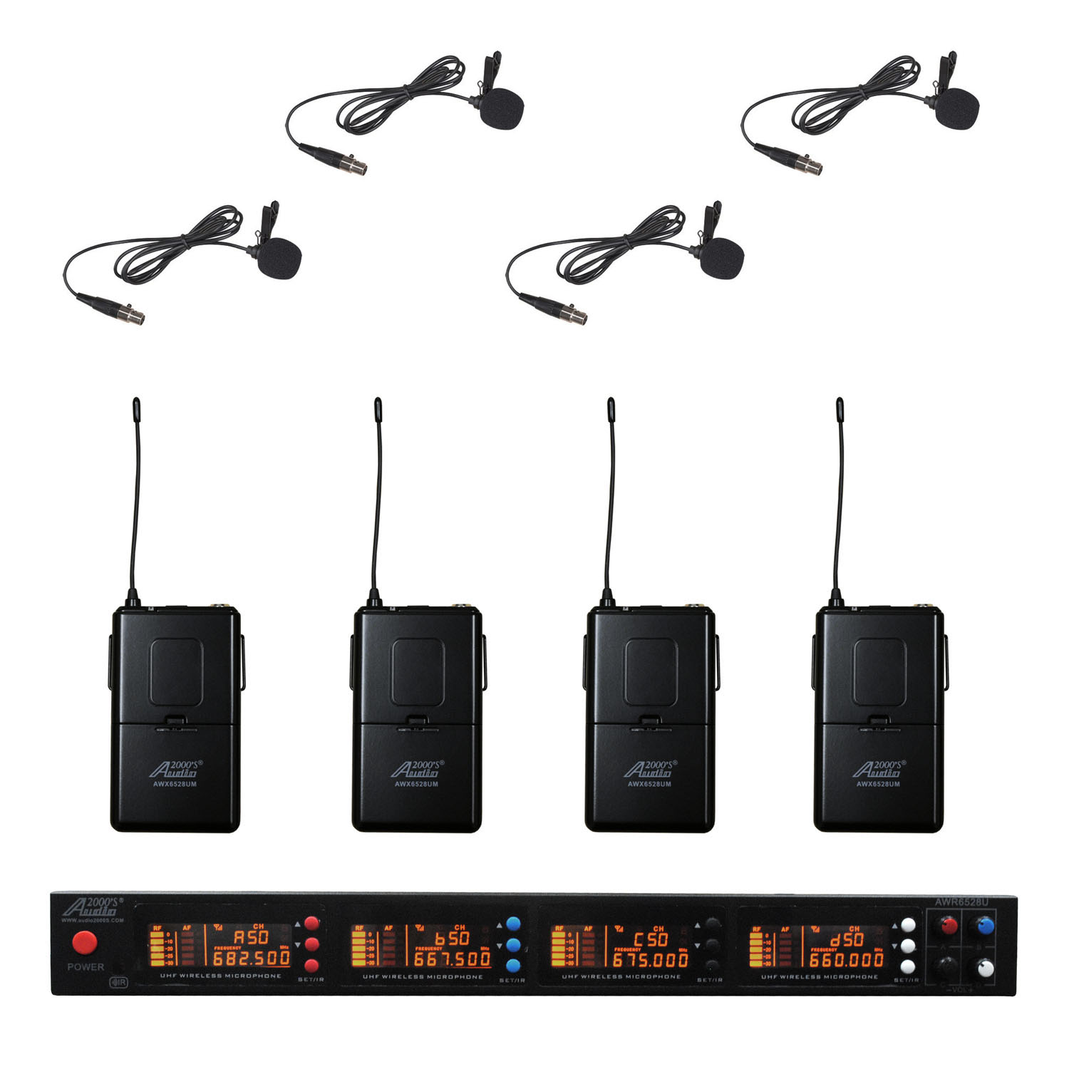 Audio2000s AWM6528UM UHF 4 Channel 200 Selectable Frequencies Wireless Microphone w  Lapel... by
