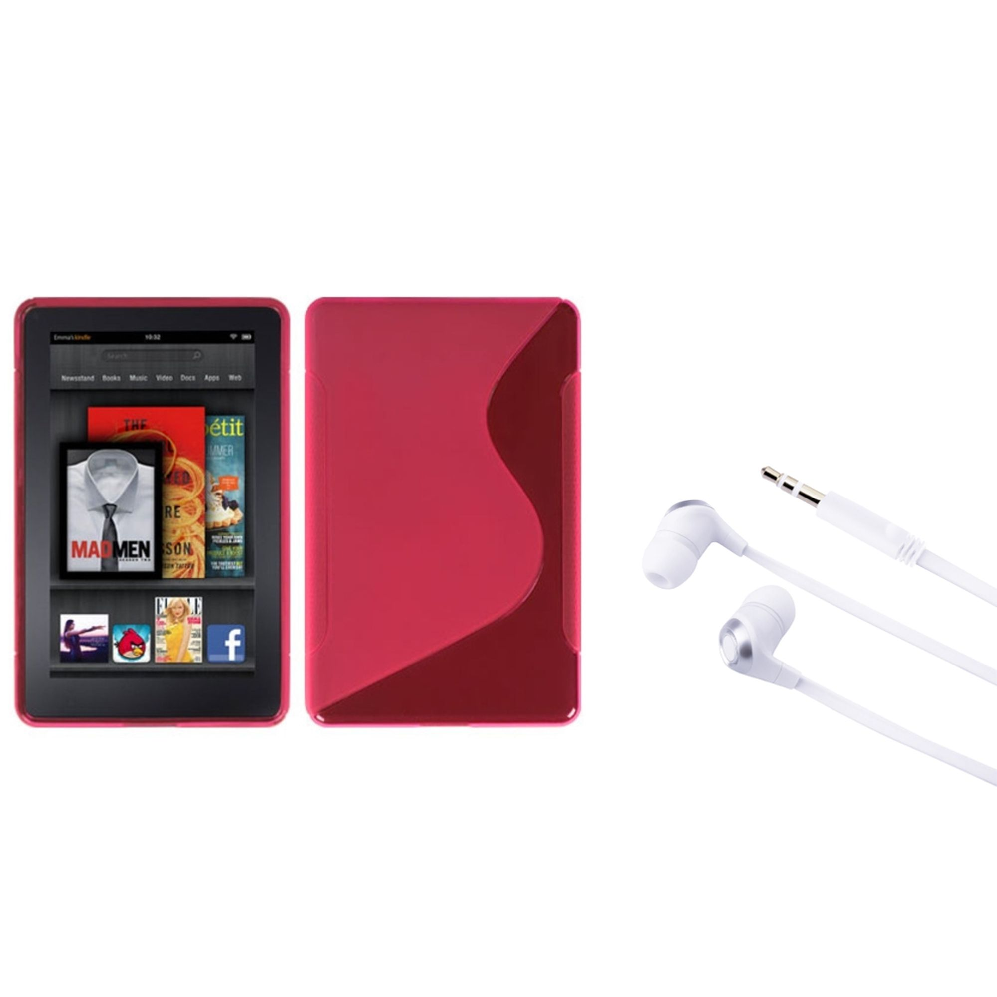 amazon kindle fire case by Insten Hot Pink S Shape Candy Skin Case+Silver Stereo Headset For Amazon Kindle Fire