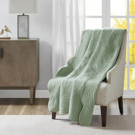 """60""""x72"""" Marino Quilted Throw Blanket with Scallop Edges Seafoam"""