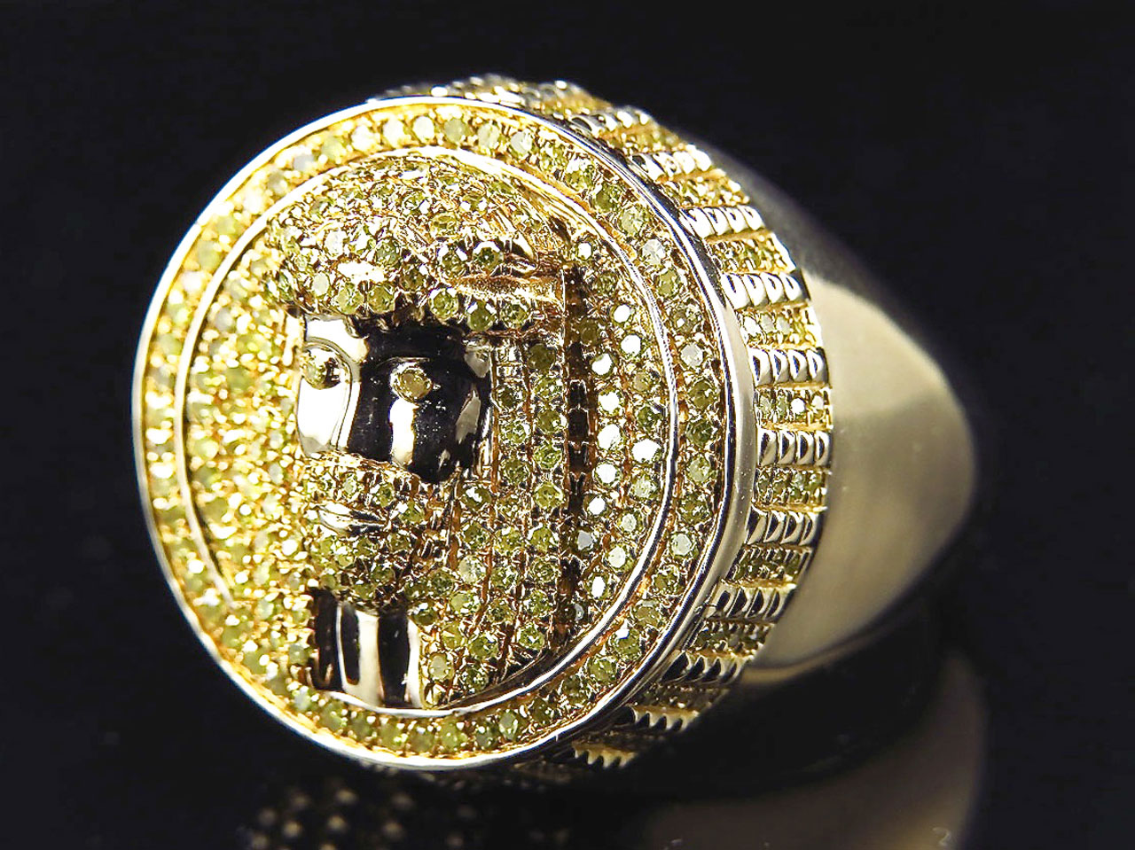 10K Yellow Gold Genuine Canary Diamond Jesus Piece Style Ring (1.50 Ct) by Jewelry Unlimited