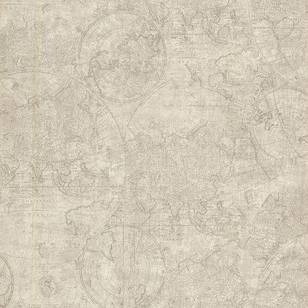 Beacon House Cartography Fog Vintage World Map Wallpaper