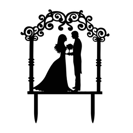 Wedding Cake Topper Insert Card Love Groom And Bride Acrylic Cake Decoration BK (Silver Letter Cake Topper)