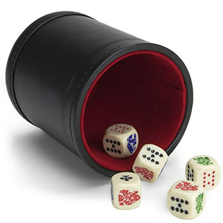 Brybelly Poker Dice Bundle: Set of 5 Poker Dice with Bicast Leather Dice Cup