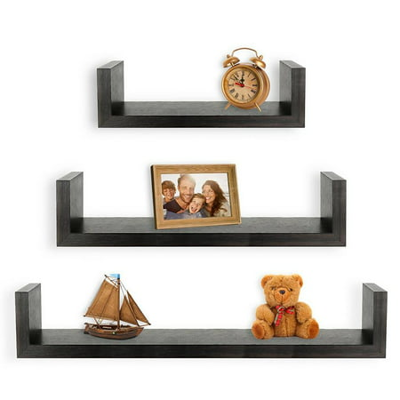 Greenco Set of 3 Floating U Shelves, Espresso (Best Floating Shelves For Kitchen)
