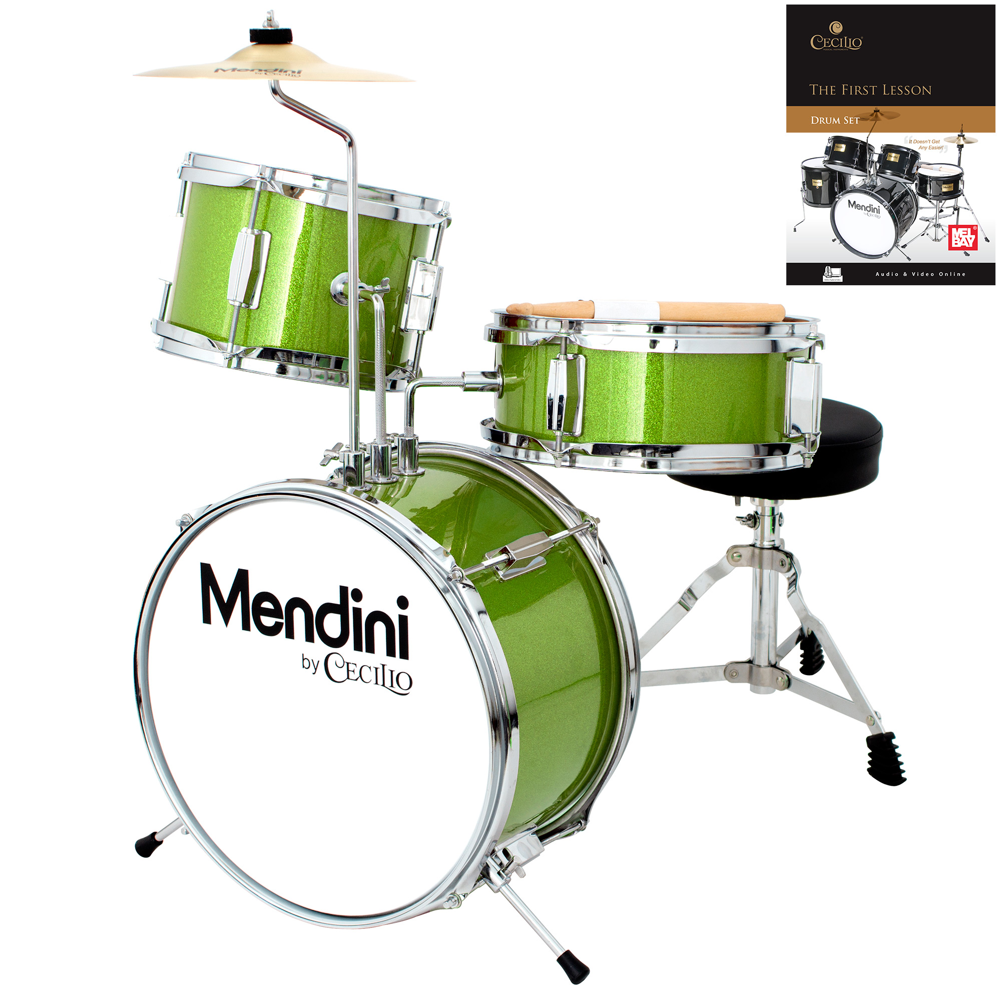 Mendini by Cecilio 13 Inch 3-Piece Kids / Junior Drum Set with Adjustable Throne, Cymbal, Pedal, Drumsticks & Lesson Book, Metallic Green, MJDS-1-GN