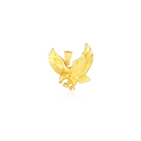 Ostrich Bird Charm - 10k Yellow Gold Landing Eagle Pendant Flying Bird Charm