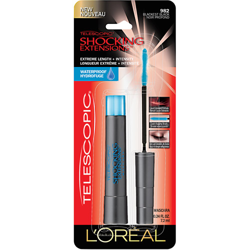 **DISCONTINUED**L'Oreal Paris Telescopic Shocking Extensions Waterproof Mascara, 982 Blackest Black, 0.24 fl oz