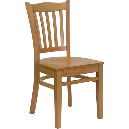 Offex HERCULES Series Natural Wood Finished Vertical Slat Back Wooden Restaurant Chair