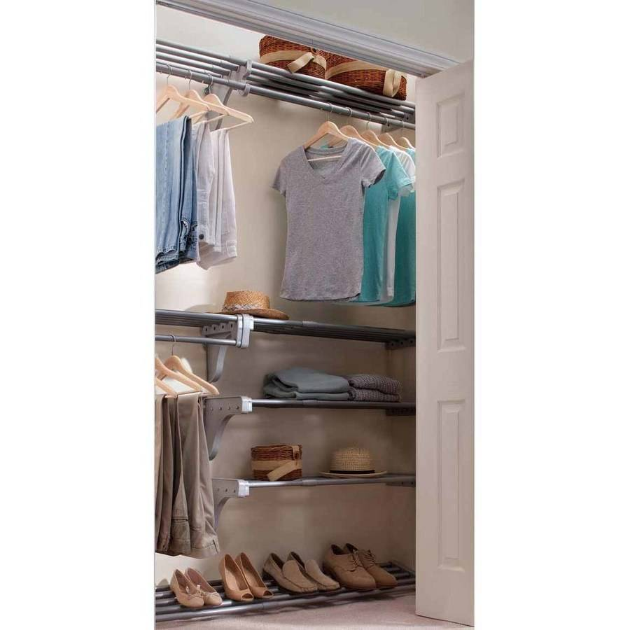 EZ Shelf Expandable Reach-In Closet Kit with Shoe Rack, Silver