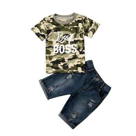 Summer 2PCS Toddler Kids Baby Boys Clothes Camo Tops T shirt Denim Pants Jeans Outfits Set