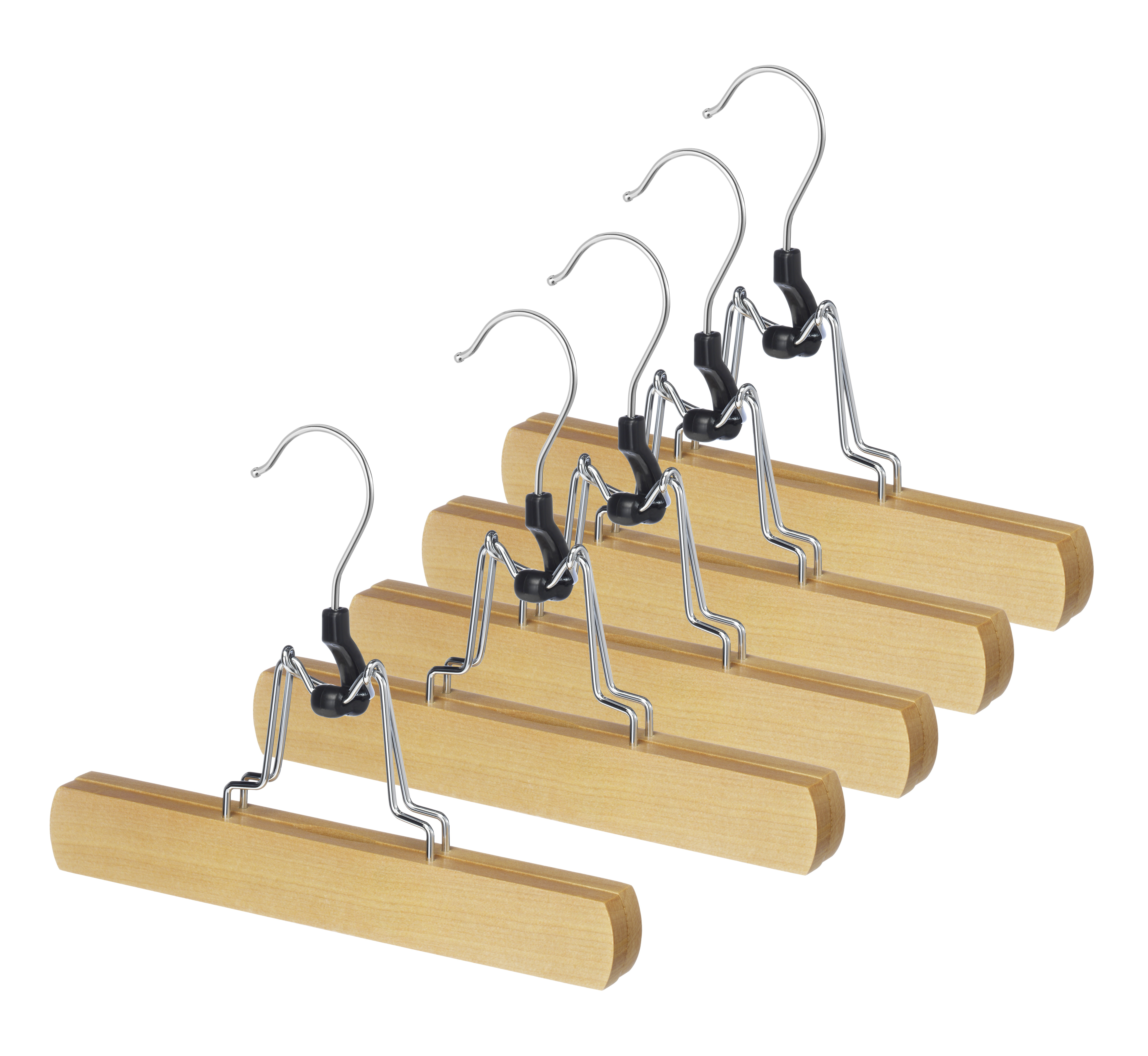 Whitmor GRADE A Natural Wood Slack Hangers Set of 5