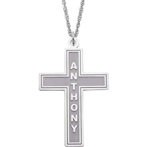 """Personalized Sterling Silver Cross Pendant, 20"""""""