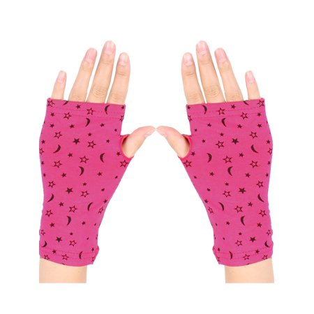 Women Moon Star Print Short Fingerless Gloves Wrist Warmer Mitts Fuchsia Pair