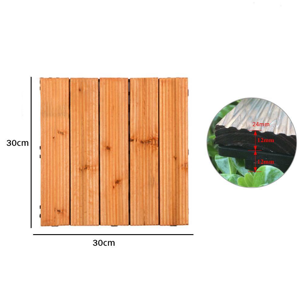 Anti-Slip Wooden Garden Patio Interlocking Decking Flooring Tiles 30cm x 30cm