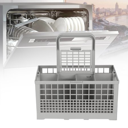 Mgaxyff Universal Multipurpose Dishwasher Part Cutlery Replacement Basket Storage Box Accessory ,Dishwasher Basket, Multipurpose Dishwasher Basket Features:1. Dishwasher basket comes with 8 compartments for your cutleries and other kitchen utensils.2. Great for store and organize silverware for cleaning.3. With a removable handle so it can be easily removed from the dishwasher.4. A universal dishwasher replacement basket, suitable for 99% of full size dishwashers.5. Made of high quality ABS, which is durable and firm to use.6. It is fitfor Kenmore, for Whirlpool, for Maytag, for KitchenAid, for Samsung, for GE, etc.Specification:Item Type: Dishwasher BasketMaterial: ABSSize: Approx. 240 * 135 * 123mm / 9.4 * 5.3 * 4.8inPackage list:1 * Dishwasher Basket1 * Handle