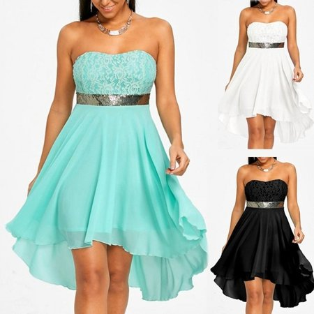 Women\'s Fashion Off Shoulder Lace Strapless Chiffon Dress Plus Size Casual  Sleeveless Mini Prom Party Evening Dresses